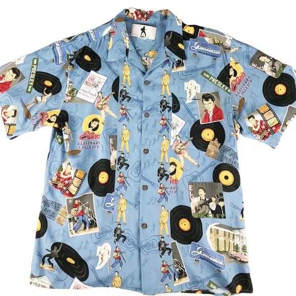 56dd2aff REYN SPOONER Elvis Presley Music Hawaiian Shirt. M_5af35c75daa8f61a912a35fd